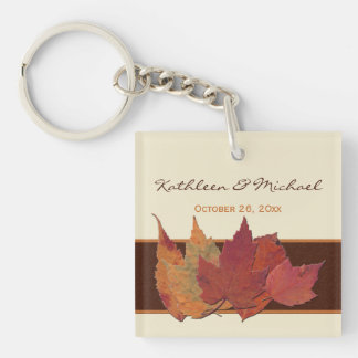 Brown, Orange, Ivory Dried Leaves Acrylic Keychain
