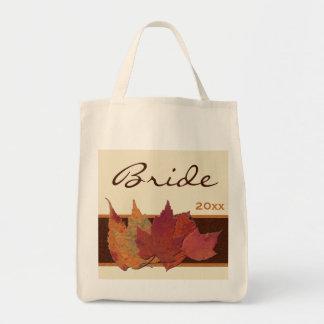 Brown Orange Ivory Dried Leaves Bride Tote Bag
