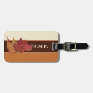 Brown Orange Ivory Dried Leaves Luggage Tag