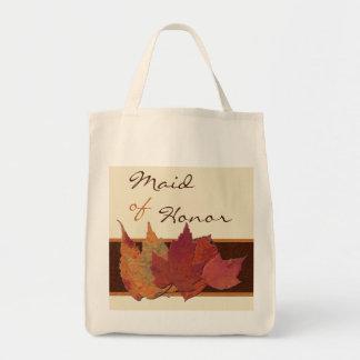 Brown Orange Ivory Dried Leaves MOH Tote Bag