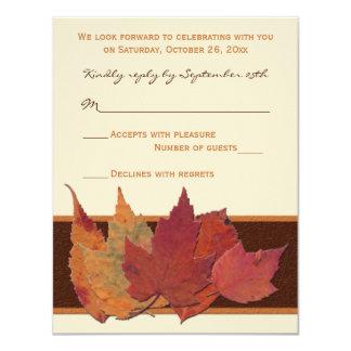 Brown Orange Ivory Dried Leaves RSVP Card