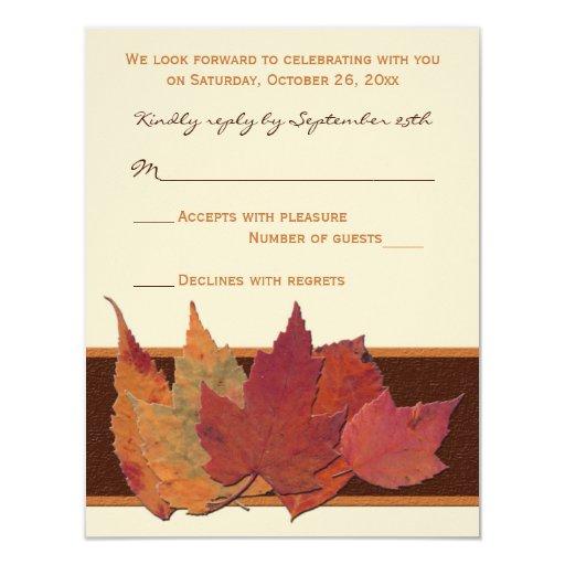 "Brown Orange Ivory Dried Leaves RSVP Card 4.25"" X 5.5"" Invitation Card"