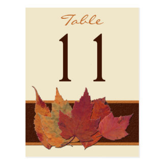 Brown Orange Ivory Dried Leaves Table Number Card