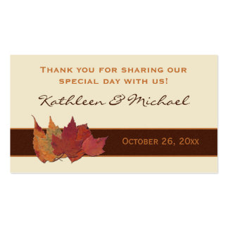 Brown Orange Ivory Dried Leaves Wedding Favor Tag Double-Sided Standard Business Cards (Pack Of 100)