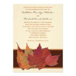 Brown Orange Ivory Dried Leaves Wedding Invitation