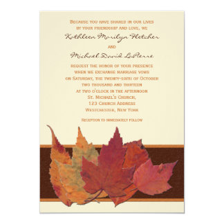 "Brown Orange Ivory Dried Leaves Wedding Invitation 5"" X 7"" Invitation Card"