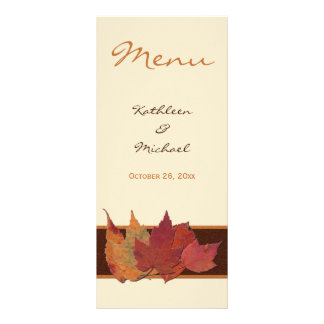 Brown Orange Ivory Dried Leaves Wedding Menu Card Rack Cards