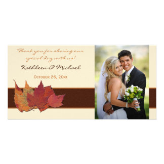 Brown Orange Ivory Dried Leaves Wedding Photo Card