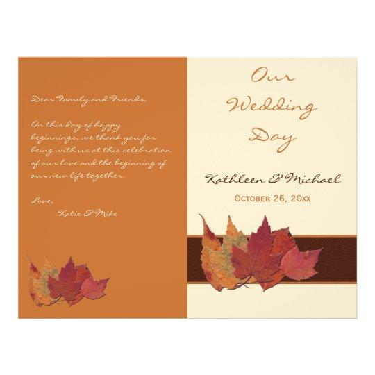 Brown Orange Ivory Dried Leaves Wedding Program