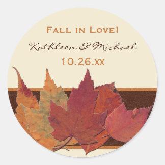 Brown Orange Ivory Dried Leaves Wedding Sticker