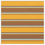 [ Thumbnail: Brown, Orange & Light Sky Blue Lines Fabric ]