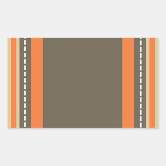 Brown & Orange Monogram Rectangular Sticker