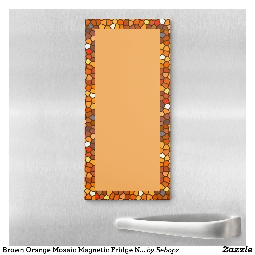 Brown Orange Mosaic Magnetic Fridge Notepad