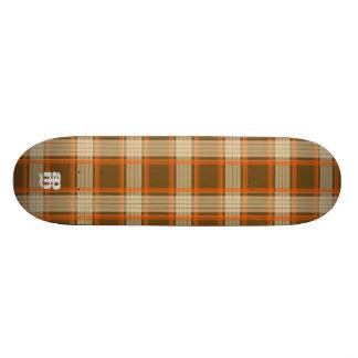 Brown & Orange Plaid Skateboard Deck