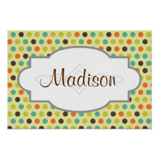 Brown, Orange, Teal, and Yellow-Green Polka Dots Posters