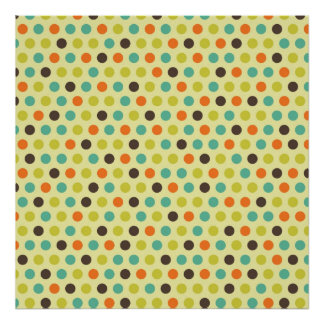 Brown, Orange, Teal, and Yellow-Green Polka Dots Poster