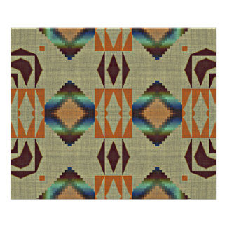 Brown Orange Teal Native Tribal Mosaic Pattern Poster