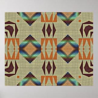 Brown Orange Teal Native Tribal Mosaic Pattern Poster