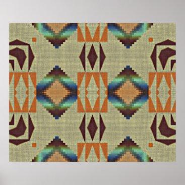 CozyLivin Brown Orange Teal Native Tribal Mosaic Pattern Poster