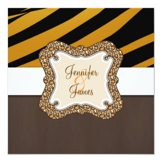 Brown Orange Tiger Stripes Wedding Invitation