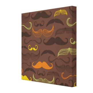 Brown, Orange & Yellow Mustache Design Gallery Wrapped Canvas