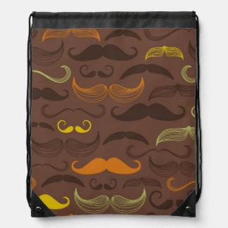 Brown, Orange & Yellow Mustache Design Drawstring Backpack