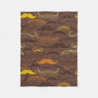 Brown, Orange & Yellow Mustache Design Fleece Blanket