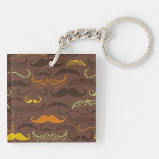 Brown, Orange & Yellow Mustache Design Keychain