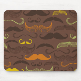 Brown, Orange & Yellow Mustache Design Mouse Pad