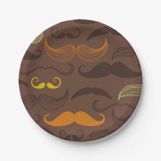 Brown, Orange & Yellow Mustache Design Paper Plate