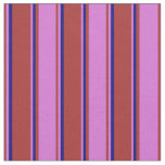 [ Thumbnail: Brown, Orchid, and Blue Stripes Fabric ]