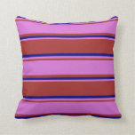 [ Thumbnail: Brown, Orchid, and Blue Stripes Throw Pillow ]