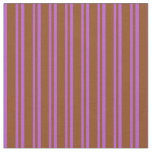 [ Thumbnail: Brown & Orchid Colored Lined Pattern Fabric ]