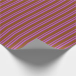 [ Thumbnail: Brown & Orchid Colored Lined Pattern Wrapping Paper ]