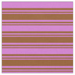 [ Thumbnail: Brown & Orchid Colored Lines Pattern Fabric ]
