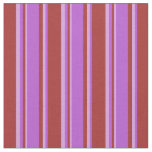 [ Thumbnail: Brown, Orchid & Plum Lines Pattern Fabric ]