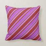 [ Thumbnail: Brown, Orchid & Plum Lines Pattern Throw Pillow ]