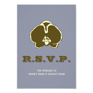 Brown Orchid Wedding RSVP Announcements