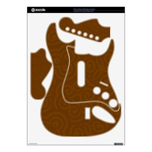 Brown oscuro Parten abstracto Rock Band Guitar Skin