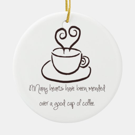 Brown oscuro reparó el ornamento del café de los adorno navideño redondo de cerámica