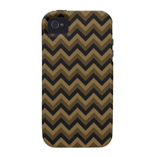 Brown oscuro y modelo de zigzag negro iPhone 4 funda