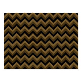 Brown oscuro y modelo de zigzag negro tarjetas postales