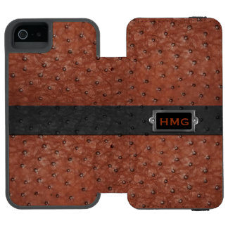 Brown Ostrich Leather Look iPhone 5S Wallet Case
