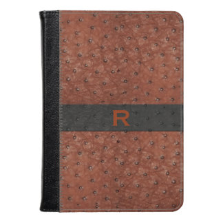 Brown Ostrich Leather Look Kindle Fire Folio