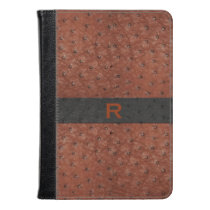 Brown Ostrich Leather Look Kindle Fire Folio Kindle Case
