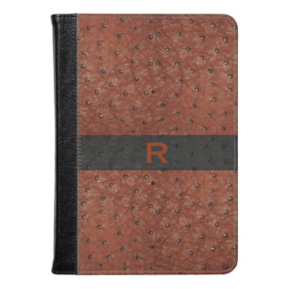 Brown Ostrich Leather Look Kindle Fire Folio Kindle Case at Zazzle