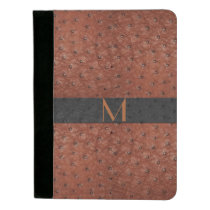 Brown Ostrich Leather Look Monogrammed Padfolio
