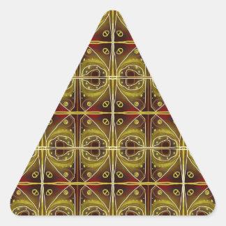 brown, oval pattern triangle sticker