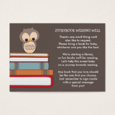Brown Owl Baby Shower Book Insert Request Card at Zazzle