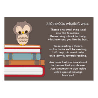 Brown Owl Baby Shower Book Insert Request Card Large Business Cards (Pack Of 100)
